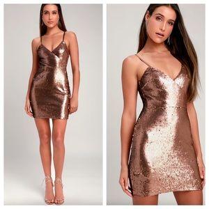 Lulu's Glisten To Me Copper Sequin Mini Dress NWOT
